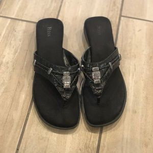 Women's bass black leather sandals